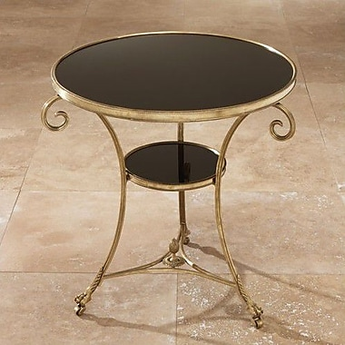 Global Views Draw Attention Tray Table; Brass & Black Granite