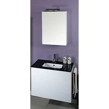 Iotti by Nameeks Time 32'' Single Wall Mounted Bathroom Vanity Set w/ Mirror; Glossy White