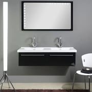 Iotti by Nameeks Fly 49'' Double Bathroom Vanity Set w/ Mirror; Glossy Black