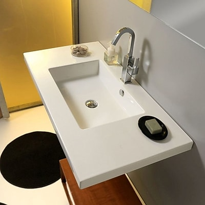Ceramica Tecla Mars Ceramic 42'' Wall Mount Bathroom Sink w/ Overflow; 8'' Widespread