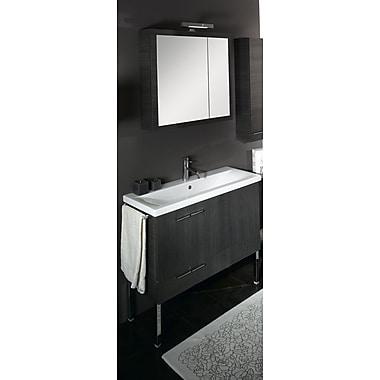 Iotti by Nameeks Simple 39'' Single Wall Mounted Bathroom Vanity Set w/ Mirror; Wenge