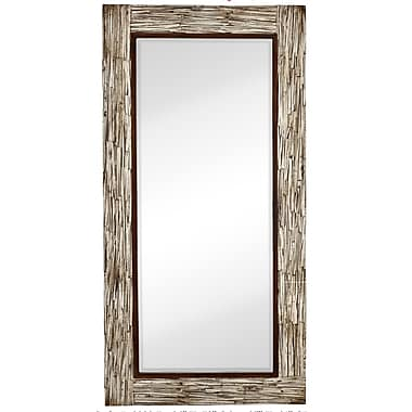 Majestic Mirror Large Rectangular White Washed Wood Framed Beveled Glass Mirror