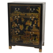 Oriental Furniture Hand Painted 5 Drawer Chest; Black Lacquer