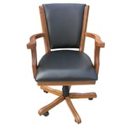 Hathaway Games Kingston Poker Genuine Leather Upholstered Dining Chair (Set of 4); Antique Oak