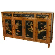 Oriental Furniture Ching 3 Drawer Hall Cabinet
