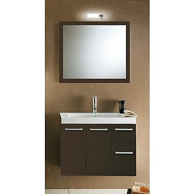 Iotti by Nameeks Linear 30'' Single Wall Mounted Bathroom Vanity Set w/ Mirror; Wenge