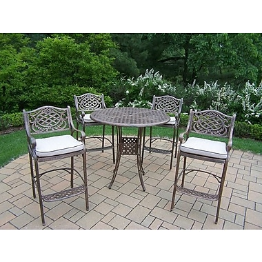 Oakland Living Mississippi 5 Piece Bar Height Dining Set w/ Cushions
