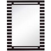 Majestic Mirror Stylish Rectangular Dark Brown Wood Framed Modern Beveled Glass Wall Mirror