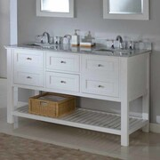 Direct Vanity Sink Mission Spa 60'' Double Bathroom Vanity Set; White Carrera Marble