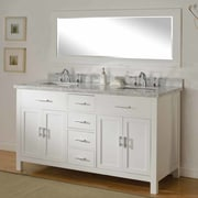 Direct Vanity Sink Hutton Spa 63'' Double Bathroom Vanity Set w/ Mirror; White Carrera Marble