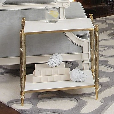Global Views Arbor End Table; Brass and White Marble