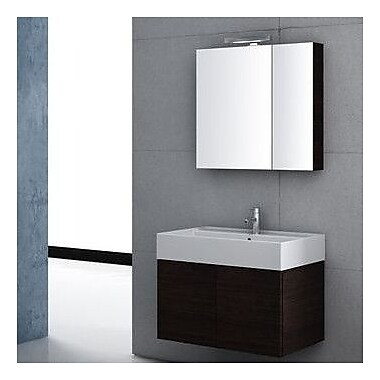Iotti by Nameeks Smile 32'' Single Wall Mount Bathroom Vanity Set w/ Mirror; Gray Oak