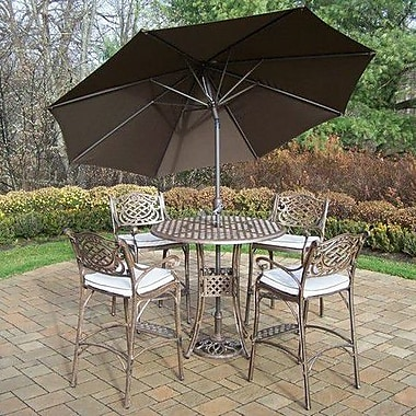 Oakland Living Mississippi 5 Piece Bar Set w/ Cushions; Brown