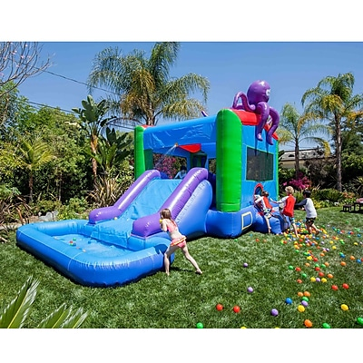 JumpOrange DuraLite Octopus Bounce House and Water Slide w/ 100pct PVC
