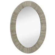 Majestic Mirror Contemporary Oval Shaped Shiny Polished Pewter Framed Hanging Glass Wall Mirror