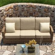 Forever Patio Cypress Sofa w/ Cushion; Spectrum Mushroom / Spectrum Sand Welt