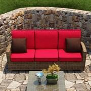 Forever Patio Cypress Sofa w/ Cushion; Flagship Ruby / Canvas Bay Brown Welt