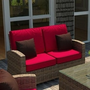 Forever Patio Cypress Loveseat w/ Cushion; Flagship Ruby / Canvas Bay Brown Welt