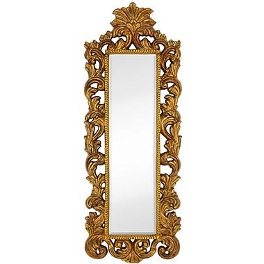 Majestic Mirror Tall Narrow Mirror Leaf w/ Black Rub Frame; Gold Leaf