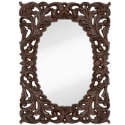 Majestic Mirror Formal Traditional Oval w/ Black Rub Frame; Walnut
