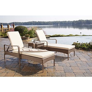 Panama Jack Key Biscayne 3 Piece Chaise Lounge Set w/ Cushion; Canvas Tuscan
