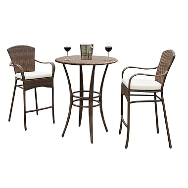 Panama Jack Key Biscayne 3 Piece Bar Height Dining Set w/ Cushion; Canvas Coal
