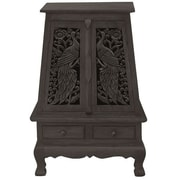 EXP D cor Handmade Acacia 37'' Peacock and Peony Storage Cabinet / End Table