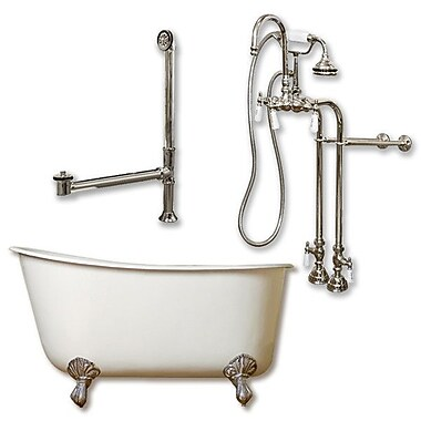 Cambridge Plumbing 58'' L x 29'' W Bathtub; Brushed Nickel