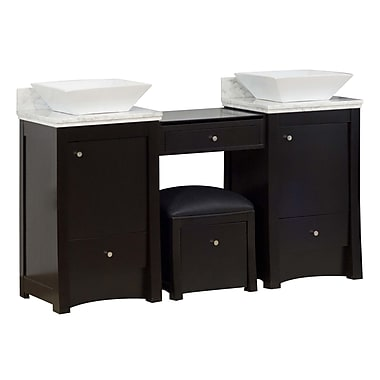 American Imaginations 60'' Double Transitional Bathroom Vanity Set; Chrome