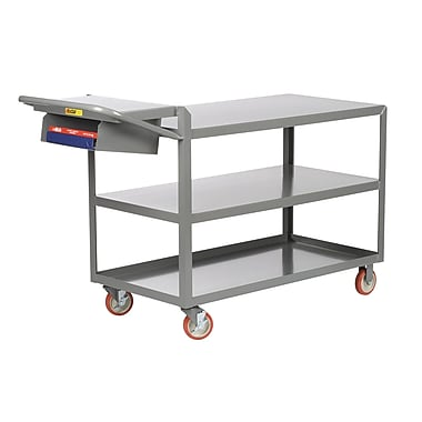 Little Giant USA 24'' x 52'' 3-Shelf Utility Cart w/ Writing Shelf and Storage Pocket