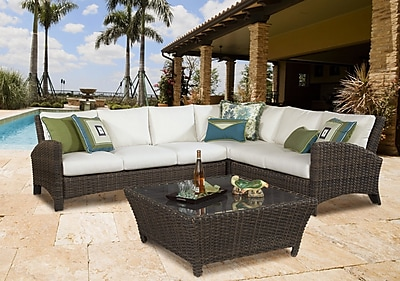South Sea Rattan Panama Sectional w/ Cushion; Pool