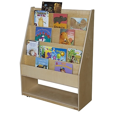 Wood Designs Portable Library 5 Compartment Book Display w/ Casters