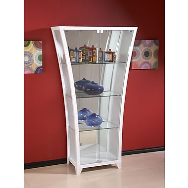 Chintaly Flair Lighted Curio Cabinet; Gloss White
