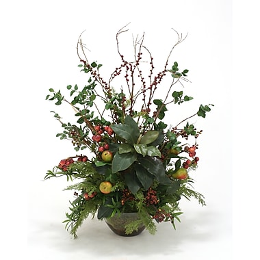 Distinctive Designs Faux Fruit Sprays, Magnolias and Foliage Desk Top Plant in Bowl