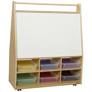Wood Designs Double Sided 6 Compartment Book Display w/ Casters; Translucent
