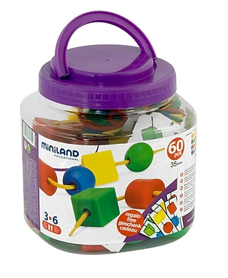 Miniland Educational Giant Beads and Laces 60 Pieces/Jar, Multicolor (31745)