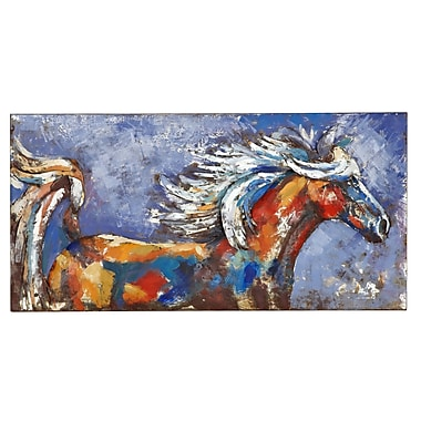 Majestic Mirror Colorful Abstract Horse Painting Print Plaque