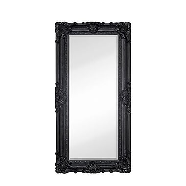 Majestic Mirror Large Traditional Black Rectangular Beveled Glass Framed Wall Mirror