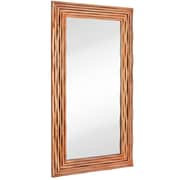 Majestic Mirror Large Rectangular Contemporary Wavy Polished Rose Gold Framed Glass Wall Mirror