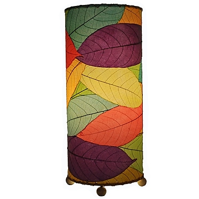 Eangee Home Design Cylinder Cocoa Leaf Table Lamp -Multicolored (615-T-M)