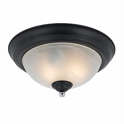 Lumenno Incandescent Flush Mount - Black Finish With Chrome Accents (8004-06-14)