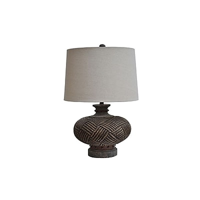 Aurora Lighting 1-Light Incandescent Table Lamp - Distressed Wood and Rope (STL-CST053944)