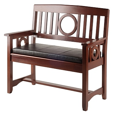 Winsome Ollie 2-Piece Bench with Cushion, Walnut Finish, (94202)