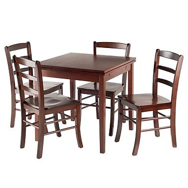 Winsome — Ensemble de table de bistrot extensible Pulman 5-pièces avec chaises à barreaux (94535)