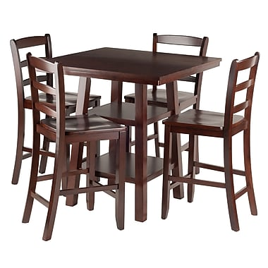 Winsome Orlando 5-Piece Set High Table with V Back Counter Stools, (94542)