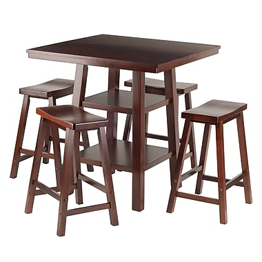 Winsome Orlando 5-Piece Set High Table with Saddle Seat Stools, (94548)