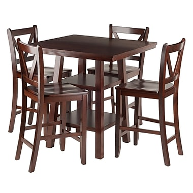 Winsome Orlando 5-Piece Set High Table with V Back Bar Stools, (94554)