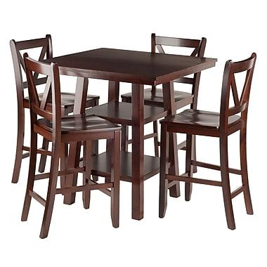 Winsome – Table haute Orlando 5 pièces avec tabourets de bistrot au dos en V (94554)