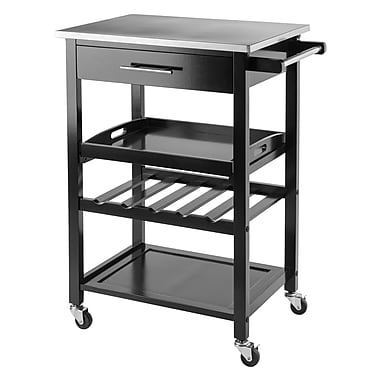 Winsome Anthony Kitchen Cart Stainless Steel Top, Black, (20326)
