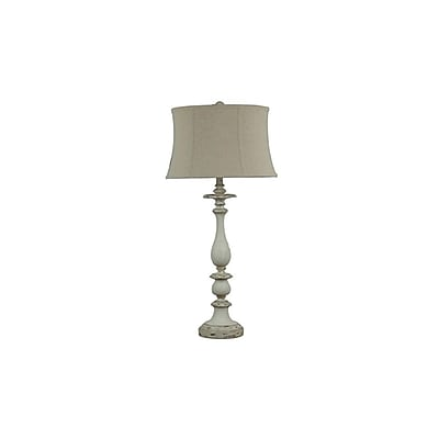 Aurora Lighting 1-Light Incandescent Table Lamp - Worn Grey and White (STL-CST044928)